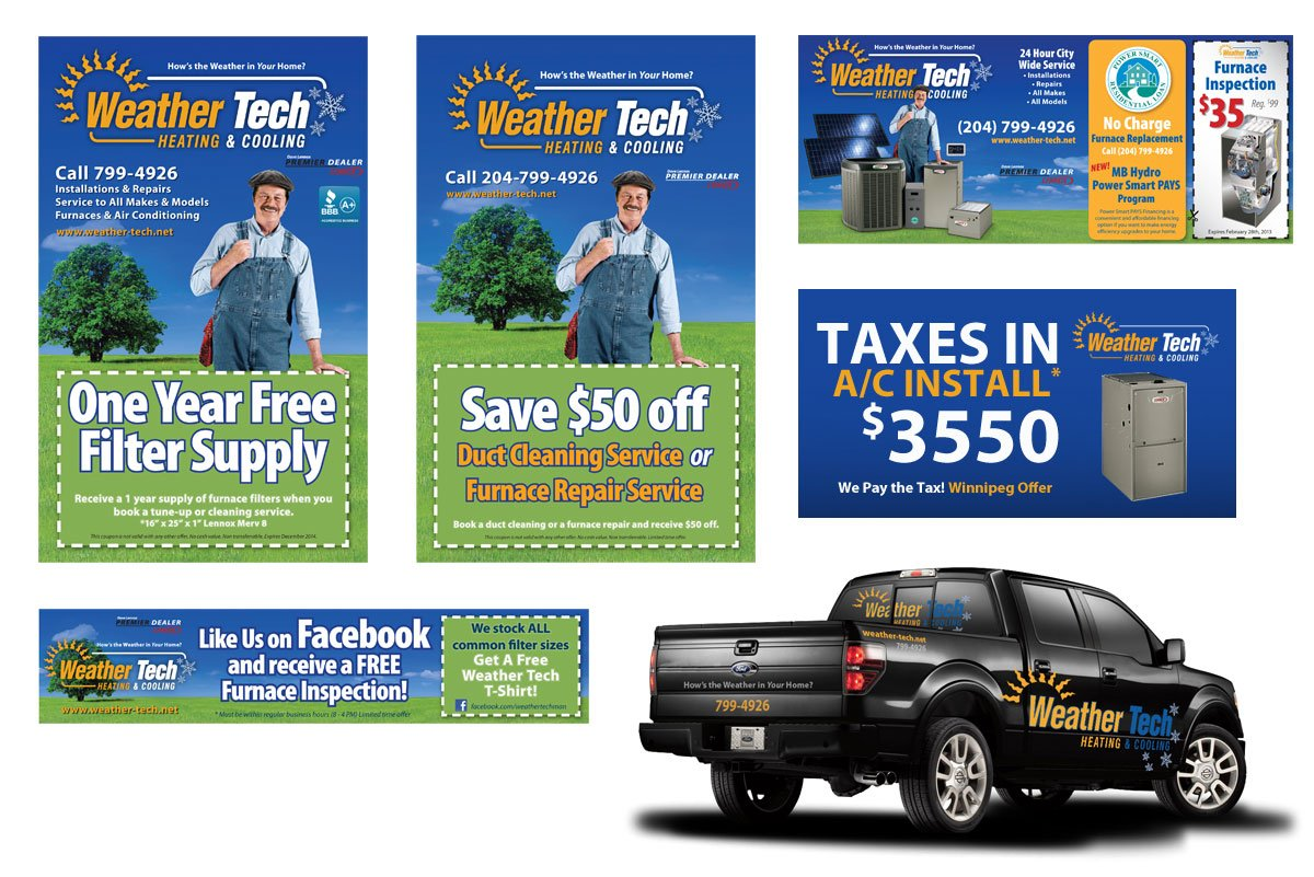 Weather tech heating and cooling banner design by dynamite design