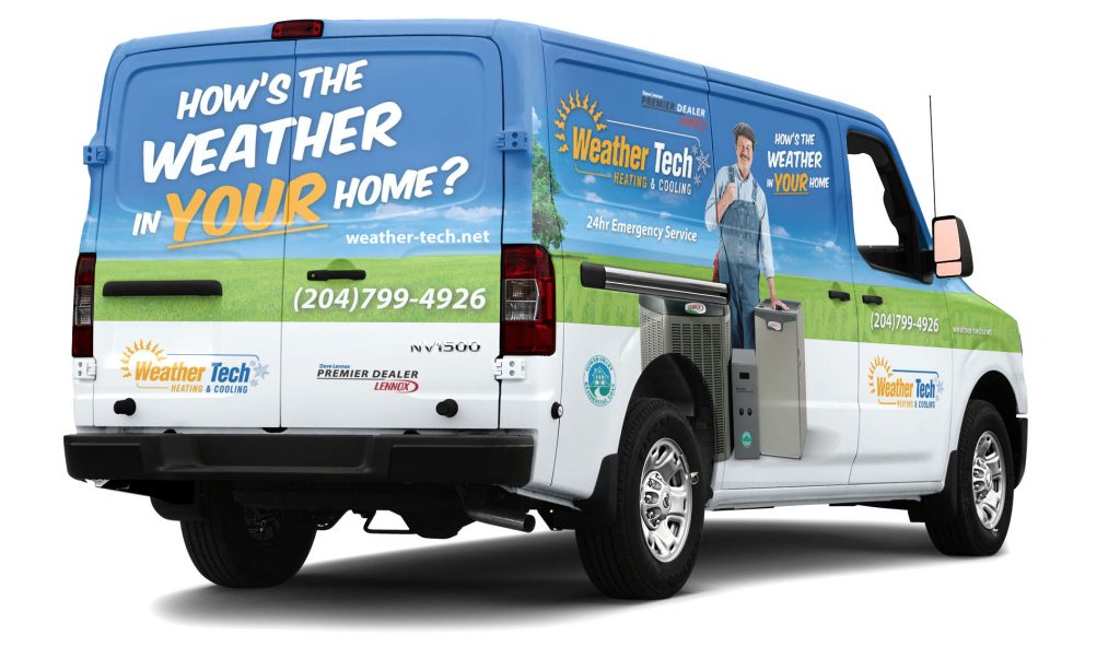 Weather tech heating and cooling branding by dynamite design