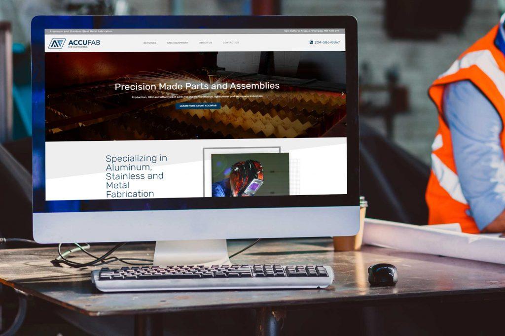 Accufab website development by Dynamite Design